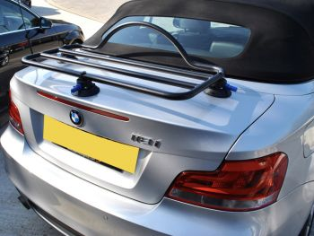 revo-rack black luggage rack fitted to a silver bmw 1 series convertible