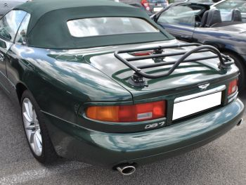 Green Aston Martin DB7 volante cabriolet with a revo-rack black luggage rack fitted