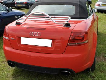 Audi A4 cabriolet in red with a chrome luggage rack fitted