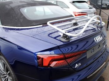 blue audi a5 convertible with a revo-rack PA luggage rack fitted to the trunk/boot