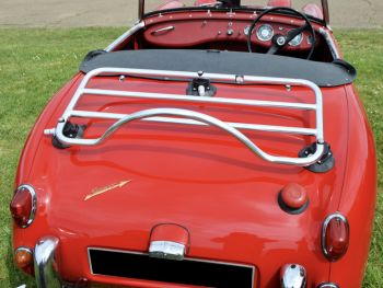 red austin healey sprite with a stainless steel revo-rack luggage rack fitted
