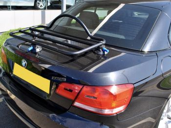 black e93 bmw convertible with a revo-rack luggage rack fitted