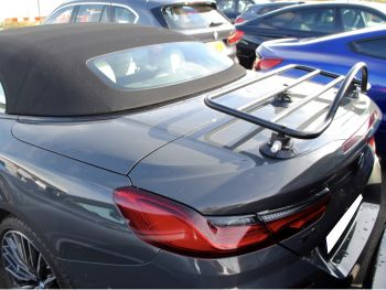 grey bmw 850i 8 series convertible with a revo rack luggage rack fitted