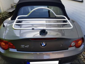silver bmw z4 e85 with a revo rack luggage rack fitted photographed from behind