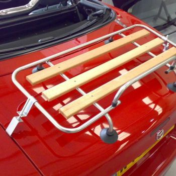 Classic Wood Luggage rack fitted to red mx5 mk1