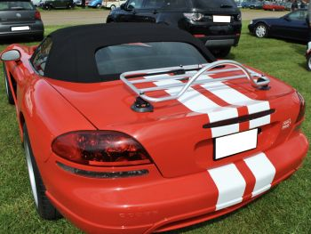 Red Dodge Viper Convertible with a revo-rack PA luggage rack fitted to the trunk