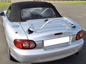 silver mazda mx6 mk2 with a revo-rack stainless steel luggage rack fitted