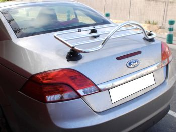 silver ford focus convertible cabriolet cc with a stainless steel luggage rack fitted
