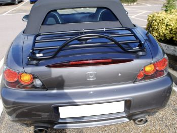 Grey Honda S2000 with a Revo-Rack Black Luggage rack fitted