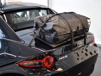 Mazda mx5 RF Luggage Rack boot-bag original fitted to a black rf