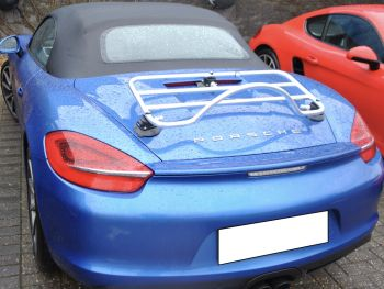 stainless steel boot rack on blue 981 porsche boxster