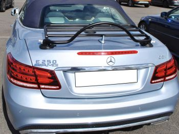 light blue mercedes e250 cabriolet with a revo-rack luggage rack fitted