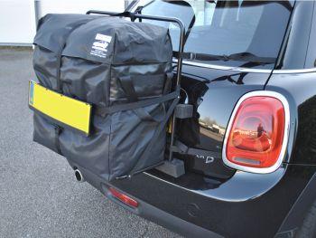 Mini roof box alternative hatch-bag fitted to a black mini cooper d