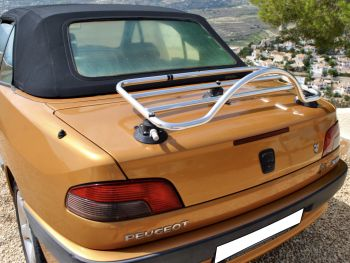 Bronze Peugeot 306 cabriolet with a revo-rack luggage rack fitted