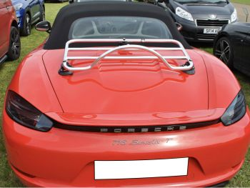 Orange porsche boxster 718 T with a revo rack pa luggage rack fitted