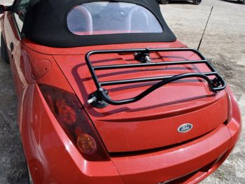 red ford streetka with a revo-rack black luggage rack fitted