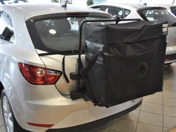 Seat Ibiza Roof Rack hatchbag fitted to a silver ibiza in a seat showroom