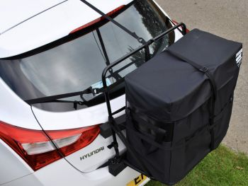 Hyundai i30 Roof Box photographed from above on a white i30