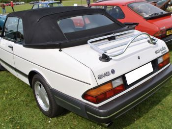 classic saab 900 turbo convertible in white with a revo-rack stainless steel luggage rack fitted to the boot