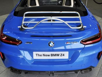 BMW G29 Z4 in blue with a stainless steel luggage rack fitted